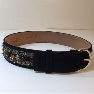 Oscar de la Renta black leather suede beaded belt